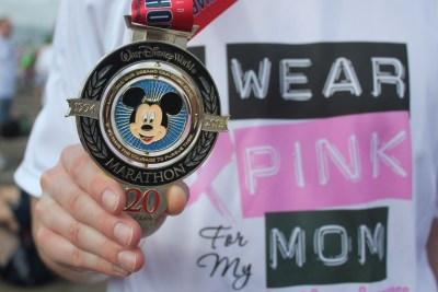 The prized medal for the 20th Anniversary of the Walt Disney World Marathon