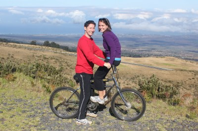 Taking a break from our bike ride down Haleakala in Maui