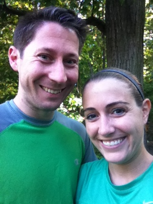 Preston and I before yesterday's run.  Can't you tell we're married - we both managed to pull the same color running shirt out of our dressers without any advance planning!
