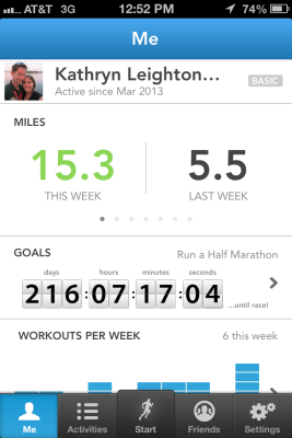 I was so proud to see 15.3 miles as my weekly total after entering yesterday's elliptical workout into RunKeeper