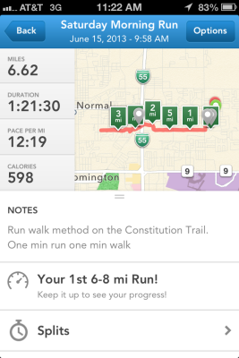 I still can't believe that I completed a 6.62 mile run on Saturday!