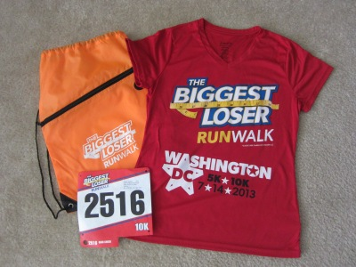 My Biggest Loser 10K race swag, minus the medal I received at the finish line