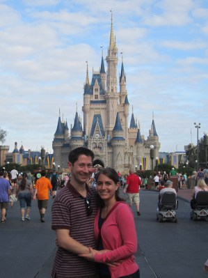 In front of Cinderella's castle at Disney World back in January.  We can't wait to take a similar picture in front of Sleeping Beauty's castle at Disneyland!