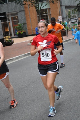 During the last mile of the race after Jen ran ahead of me