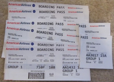 All of our accumulated boarding passes from yesterday's unfortunate adventure
