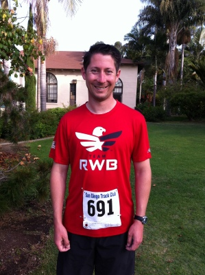 Preston opted to wear his Team RWB shirt during the race in hopes of finding members of the San Diego chapter