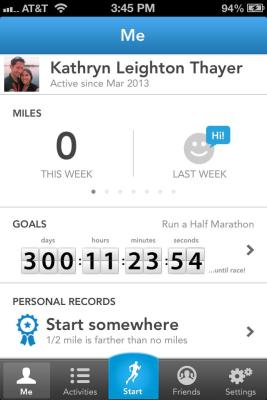 Throwback to March 16th, the day I installed RunKeeper and started tracking my running progress