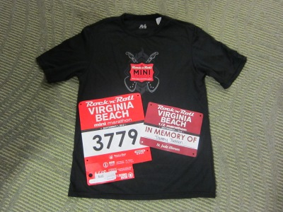 My race swag (and yes I wore both bibs - one was on my back)