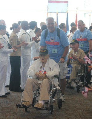 One of the many WWII vets that we greeted at the airport.  They were so happy to be able to spend the day in DC, which included a stop at the WWII Memorial.