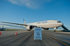 It was quite the thrill to run past a parked United airplane at about mile two