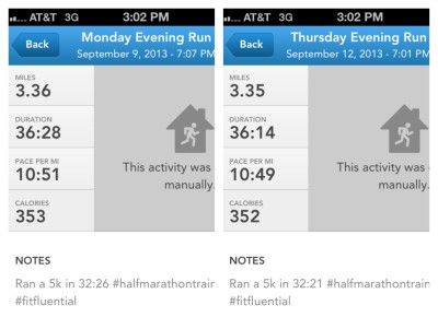 The stats for this week's treadmill runs, which include my post 5K cool down