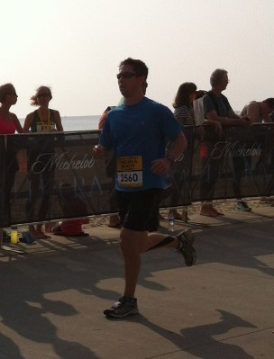 Preston approaching the finish line.  He finished the half marathon in 2:08:03.