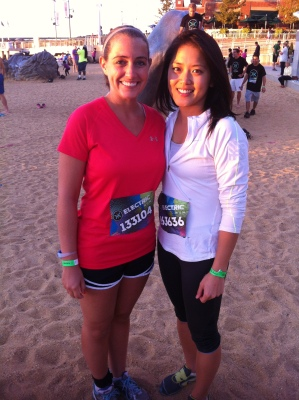 My friend Jen and I out on the sand at The Awakening at National Harbor