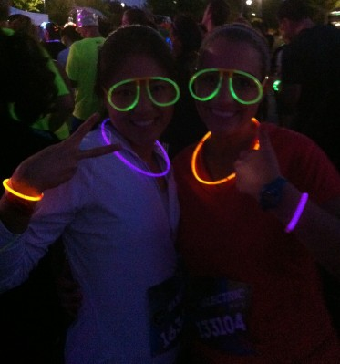 Jen and I ready to rock the Electric Run
