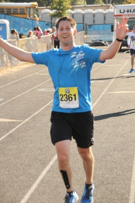 Preston approaching the finish line