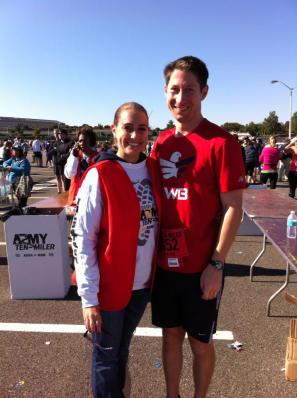 At Sunday's Army Ten Miler, where Preston ran and I volunteered