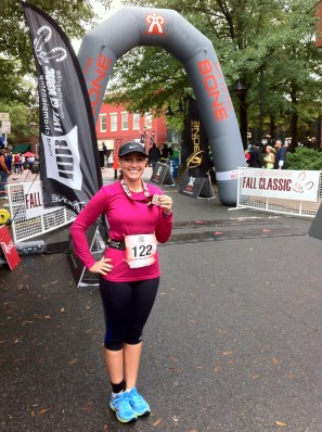 Celebrating the completion of my third 10K, the Charlottesville Fall Classic