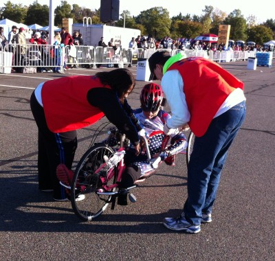 One of the many wounded warriors that I had the honor of congratulating at the end of the race