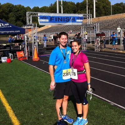 On Sunday at the Perfect 10, where I ran the 10K and Preston ran the 10 Miler