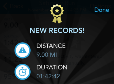 Another new PDR notification from RunKeeper, this time for nine miles!