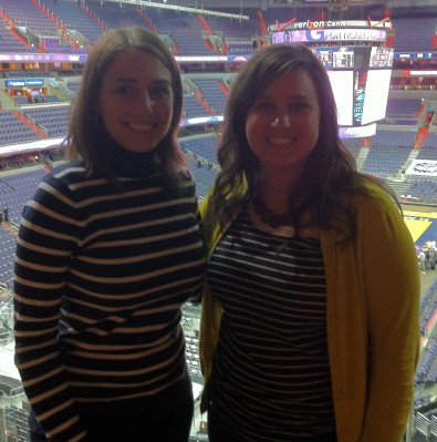 In the Pepsi suite at the Verizon Center in DC with my godmother's daughter, Rebecca