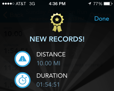 RunKeeper's notification of my new PDR!