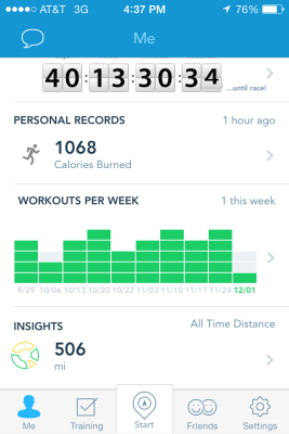 My RunKeeper home screen proudly displaying over 500 training miles!