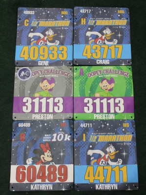 All of our race bibs for 2014 Marathon Weekend