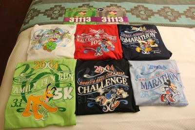 Preston's six race shirts and two bibs for the Dopey Challenge