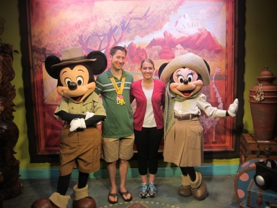 Celebrating Preston's first completed leg of the Dopey Challenge with Mickey and Minnie at Animal Kingdom