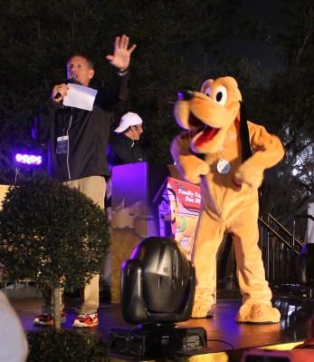 Pluto ready to kick off the start of the Family Fun Run 5k