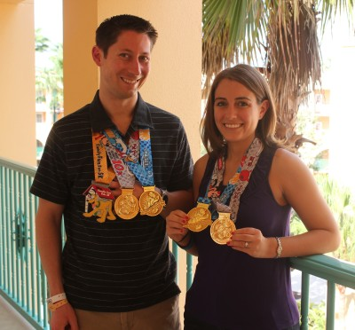 Our medal collection for the weekend after finish the Disney World half marathon