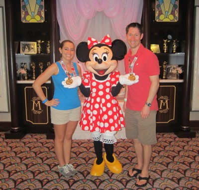 Minnie Mouse was so proud of us for finishing her race that morning!