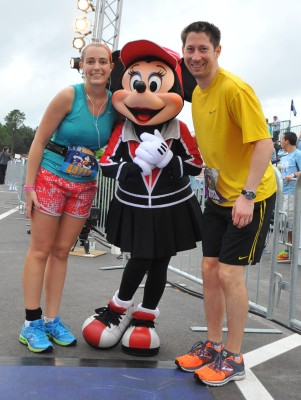 With Minnie just before crossing the finish line Photo Credit: MarathonFoto