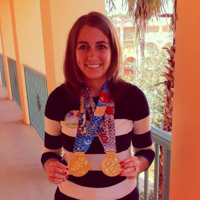 My prized 10k and half marathon medals that I earned this weekend