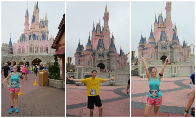 Before and after we ran through Cinderella's Castle