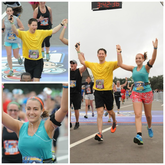 Crossing the finish line of my first half marathon! Photo Credit: MarathonFoto