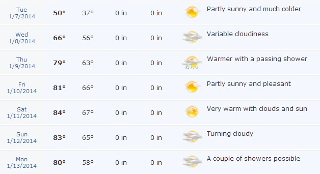 The current Accuweather forecast for Disney World