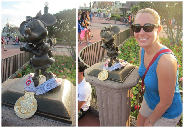 Sharing my medal at Magic Kingdom with the host of that morning's race