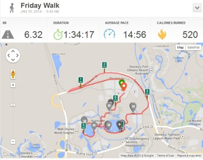 Our Disney World 10k race stats according to RunKeeper