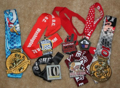 My current race bling collection.  I can't wait to add more to the pile!
