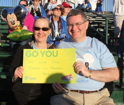 Mom and Dad in the stands at the finish line
