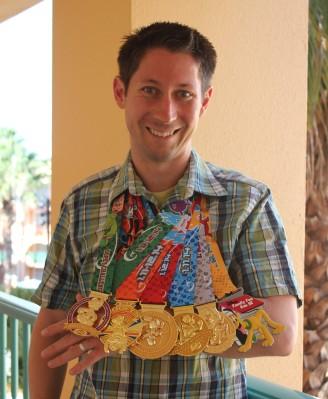 Preston's six Dopey Challenge medals: 5k, 10k, half, full, Goofy, and Dopey