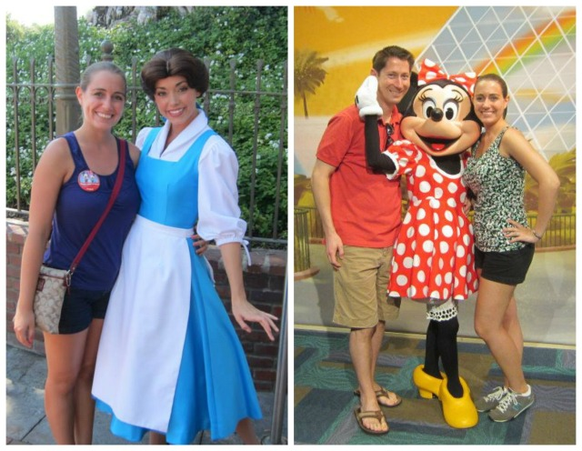 With Belle at Disneyland in July 2013 and Minnie Mouse at Disney World in January 2013