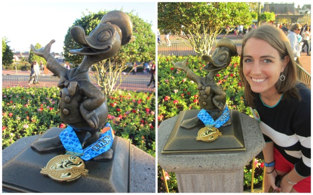 While at Magic Kingdom I shared my half marathon medal with Donald just like I had shared my 10k medal with Minnie