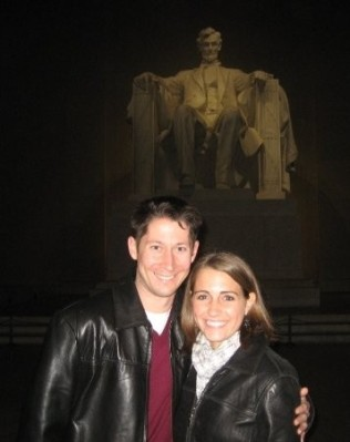 Preston and I at the Lincoln Memorial on our first date on November 18, 2009