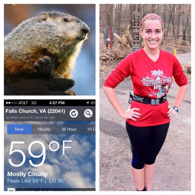 Minnie Mouse and I are having a hard time believing Punxsutawney Phil's prediction, especially since I got hot wearing long sleeves and its the beginning of February!