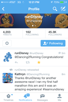 I was quite excited to find out that runDisney had retweeted my thank you