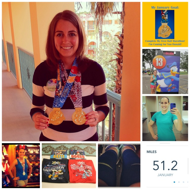 Center photo: my bling from the 10k and half marathon Right column: my January goals, at the mile 13 marker of the half marathon, a green shirt to mark my first day back at the gym after the half marathon Bottom row: Minnie ears to match my 10k medal, my race shirts, compression sleeves on the plane home for recovery, and my monthly mileage