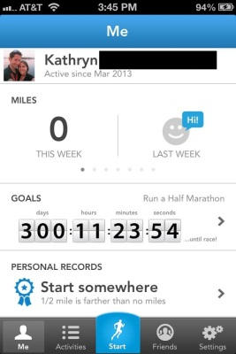 My empty RunKeeper account, ready to start logging my miles!